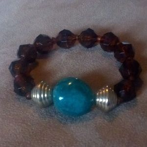 Beautiful amber and Jade Bracelet